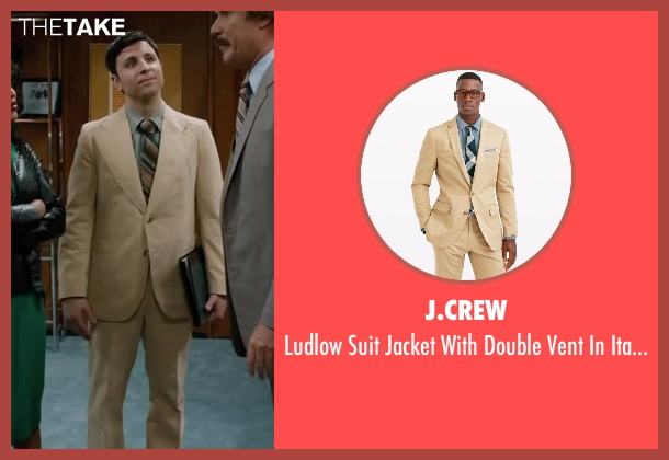 J.Crew beige chino from Anchorman 2: The Legend Continues seen with Dave Pileggi (Linda's Assistant)