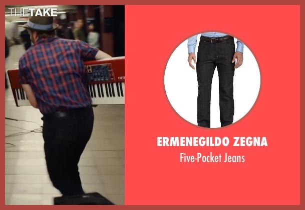 Ermenegildo Zegna black jeans from Begin Again seen with David Abeles (Glen)