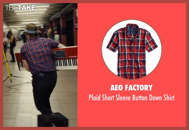 AEO Factory red shirt from Begin Again seen with David Abeles (Glen)