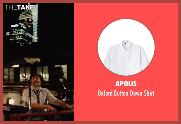 Apolis white shirt from Begin Again seen with David Abeles (Glen)