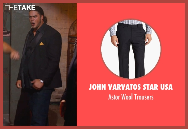John Varvatos Star USA black trousers from Pitch Perfect 2 seen with David Bakhtiari (Football Player)