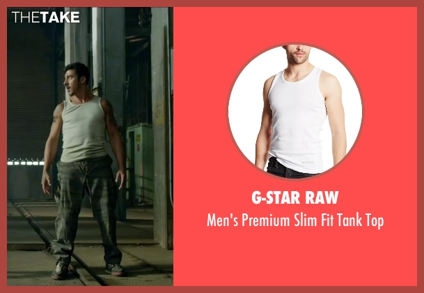 G-Star Raw white top from Brick Mansions seen with David Belle (Lino)