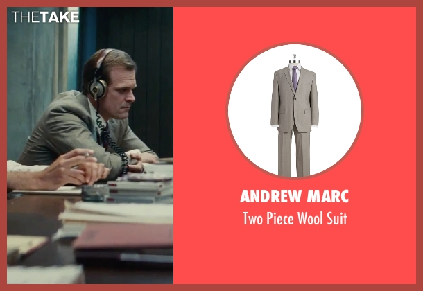 Andrew Marc brown suit from Black Mass seen with David Harbour (John Morris)
