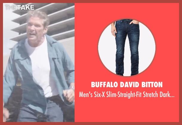 Buffalo David Bitton blue jeans from Sharknado 4: The Fourth Awakens seen with David Hasselhoff (Gilbert Shepard)