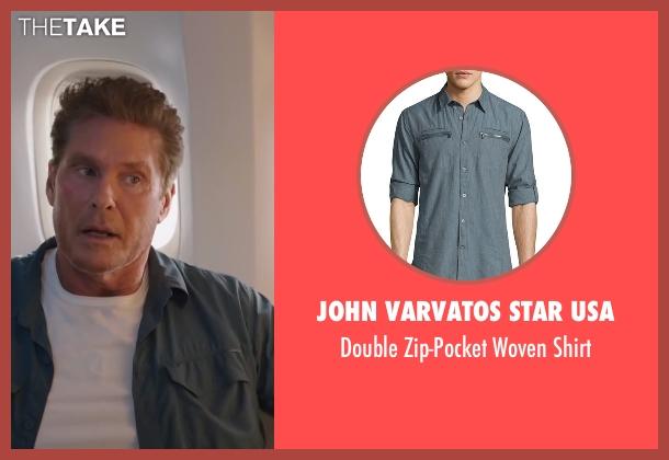 John Varvatos Star USA blue shirt from Sharknado 4: The Fourth Awakens seen with David Hasselhoff (Gilbert Shepard)