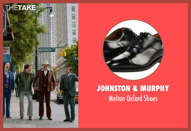 Johnston & Murphy black shoes from Anchorman 2: The Legend Continues seen with David Koechner (Champ Kind)
