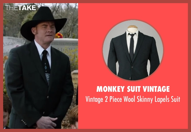 Monkey Suit Vintage black suit from Anchorman 2: The Legend Continues seen with David Koechner (Champ Kind)