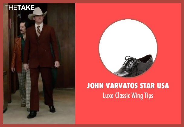 John Varvatos Star USA black tips from Anchorman 2: The Legend Continues seen with David Koechner (Champ Kind)