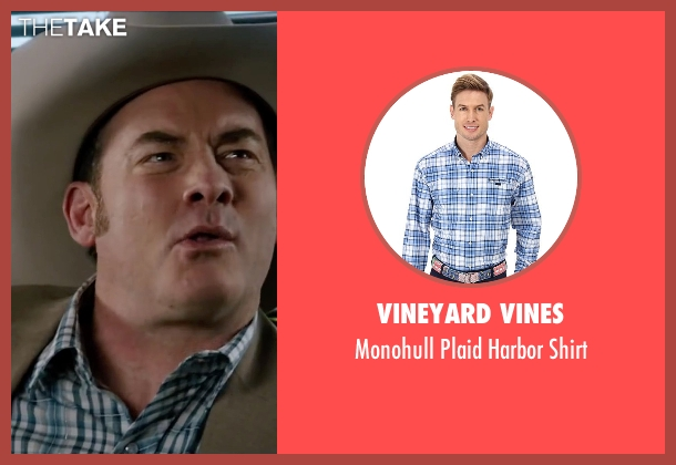 Vineyard Vines blue shirt from Anchorman 2: The Legend Continues seen with David Koechner (Champ Kind)