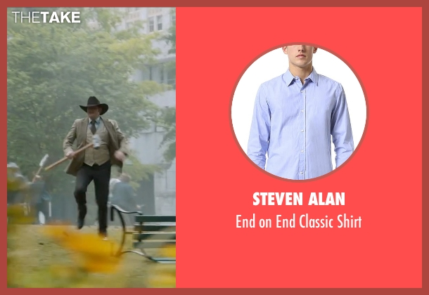 Steven Alan blue shirt from Anchorman 2: The Legend Continues seen with David Koechner (Champ Kind)
