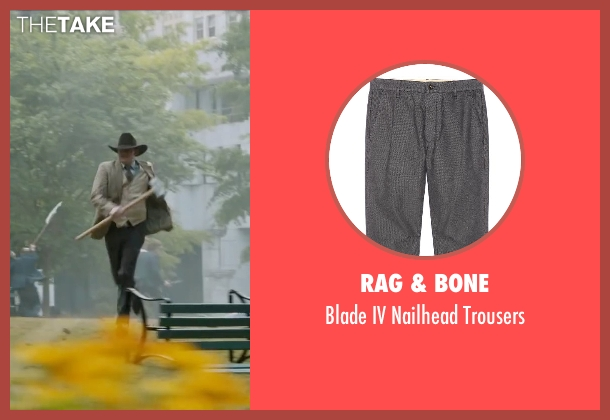 Rag & Bone gray trousers from Anchorman 2: The Legend Continues seen with David Koechner (Champ Kind)