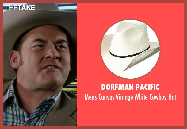 Dorfman Pacific white hat from Anchorman 2: The Legend Continues seen with David Koechner (Champ Kind)