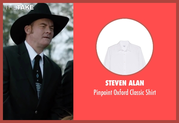 Steven Alan white shirt from Anchorman 2: The Legend Continues seen with David Koechner (Champ Kind)
