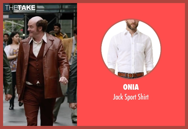 Onia white shirt from Anchorman 2: The Legend Continues seen with David Koechner (Champ Kind)
