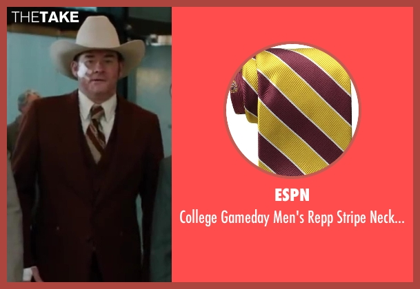 ESPN yellow necktie from Anchorman 2: The Legend Continues seen with David Koechner (Champ Kind)