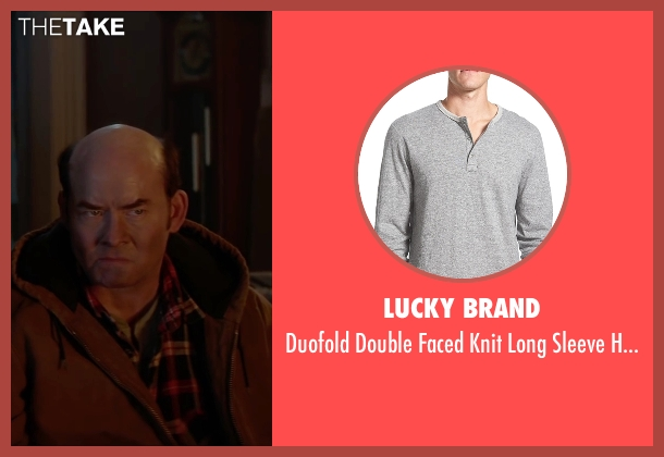 Lucky Brand gray shirt from Krampus seen with David Koechner (Howard)