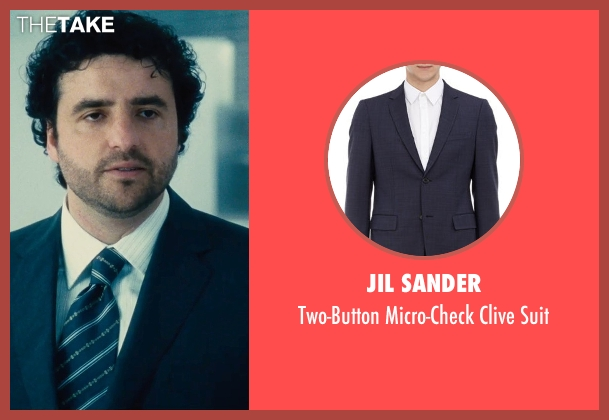 Jil Sander blue suit from The Judge seen with David Krumholtz (Mike Kattan)