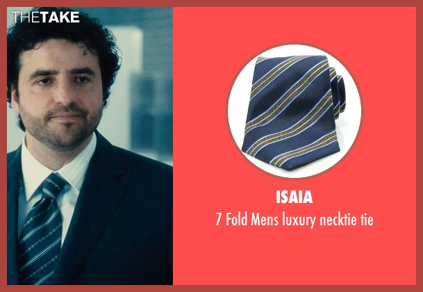 Isaia blue tie from The Judge seen with David Krumholtz (Mike Kattan)