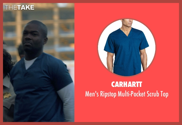 Carhartt blue top from Captive seen with David Oyelowo (Brian Nichols)