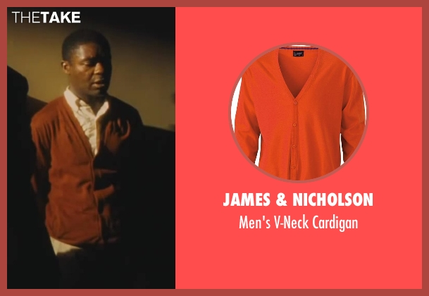 James & Nicholson orange cardigan from Lee Daniels' The Butler seen with David Oyelowo (Louis Gaines)