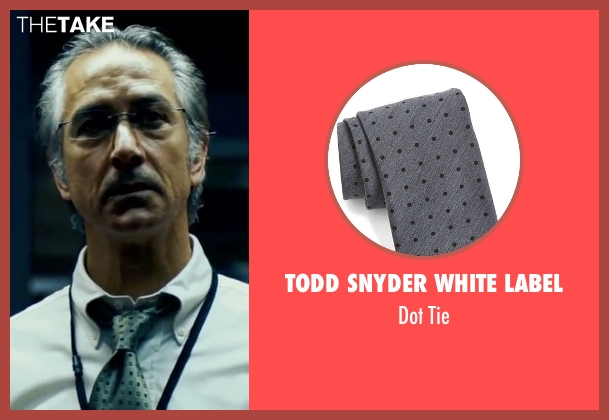 Todd Snyder White Label gray tie from The Bourne Ultimatum seen with David Strathairn (Noah Vosen)