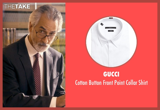 Gucci white shirt from The Second Best Exotic Marigold Hotel seen with David Strathairn (Ty Burley)