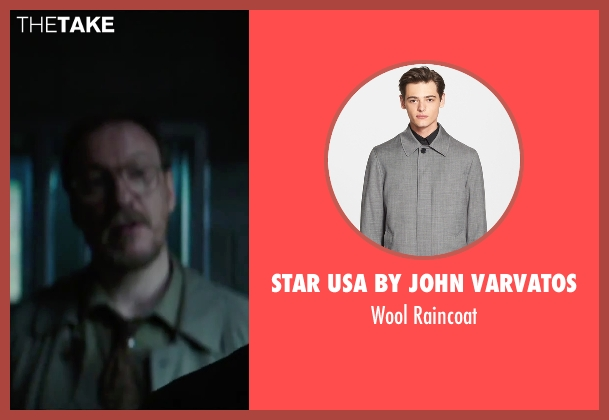 Star USA by John Varvatos gray raincoat from Regression seen with David Thewlis (Professor Kenneth Raines)