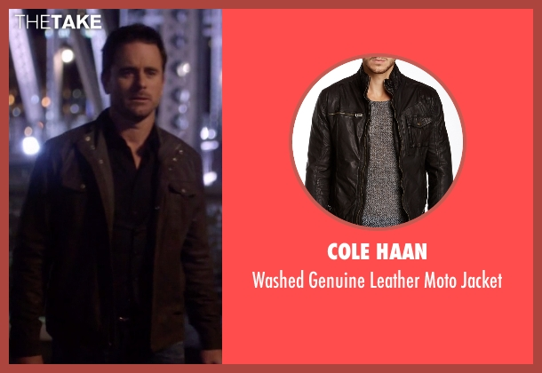 Cole Haan black jacket from Nashville seen with Deacon Claybourne  (Charles Esten)