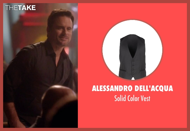 Alessandro Dell'acqua black vest from Nashville seen with Deacon Claybourne  (Charles Esten)