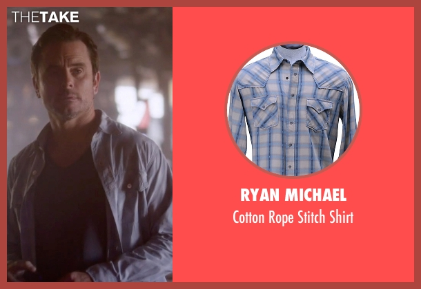 Ryan Michael blue shirt from Nashville seen with Deacon Claybourne  (Charles Esten)