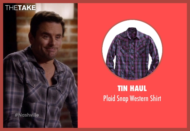 Tin Haul purple shirt from Nashville seen with Deacon Claybourne  (Charles Esten)