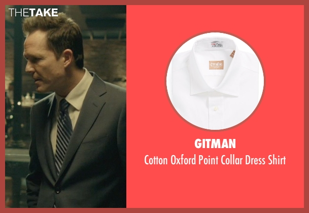 Gitman white shirt from John Wick seen with Dean Winters (Avi)