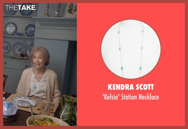 Kendra Scott blue necklace from The Visit seen with Deanna Dunagan (Unknown Character)