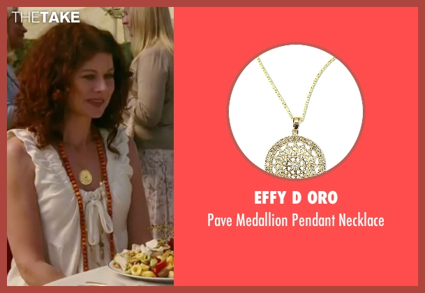Effy D Oro gold necklace from The Women seen with Debra Messing (Edie Cohen)