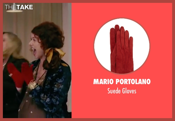 Mario Portolano red gloves from The Women seen with Debra Messing (Edie Cohen)