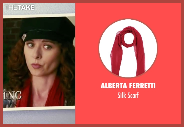 Alberta Ferretti red scarf from The Women seen with Debra Messing (Edie Cohen)