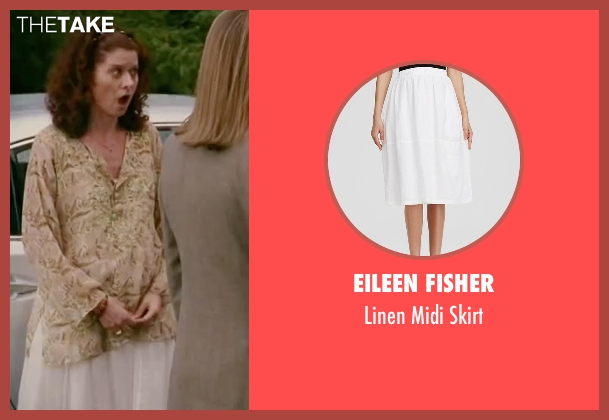 Eileen Fisher white skirt from The Women seen with Debra Messing (Edie Cohen)