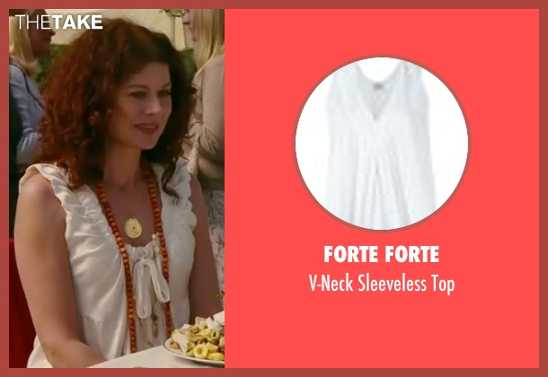 Forte Forte white top from The Women seen with Debra Messing (Edie Cohen)