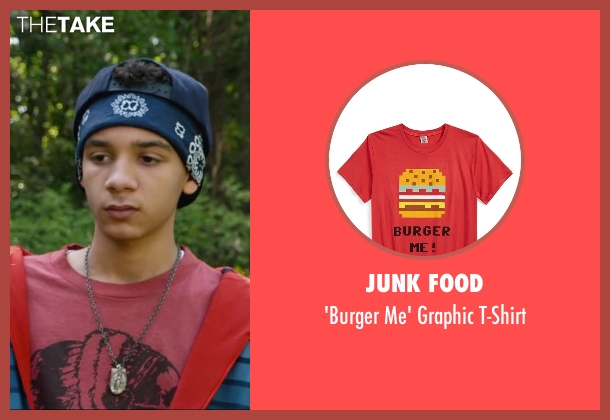 Junk Food red t-shirt from Max seen with Dejon LaQuake (Chuy)