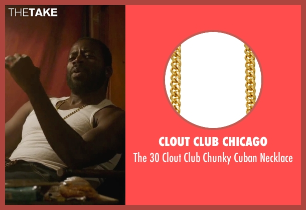 Clout Club Chicago gold necklace from Straight Outta Compton seen with Demetrius Grosse (Rock)