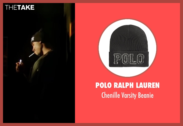 Polo Ralph Lauren black beanie from All Eyez on Me seen with Demetrius Shipp Jr. (Tupac Shakur)