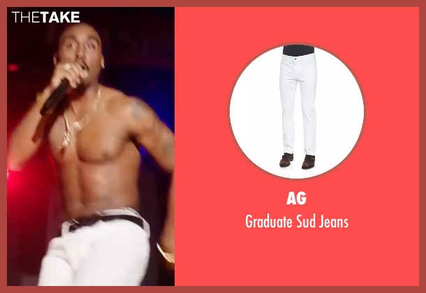 AG white jeans from All Eyez on Me seen with Demetrius Shipp Jr. (Tupac Shakur)