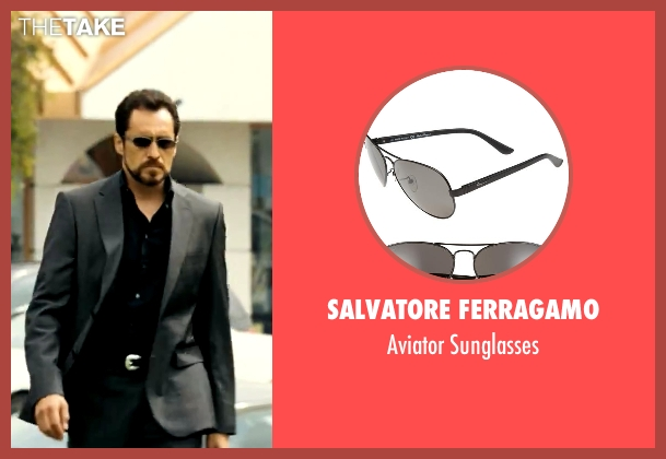 Salvatore Ferragamo black sunglasses from Savages seen with Demian Bichir (Alex)