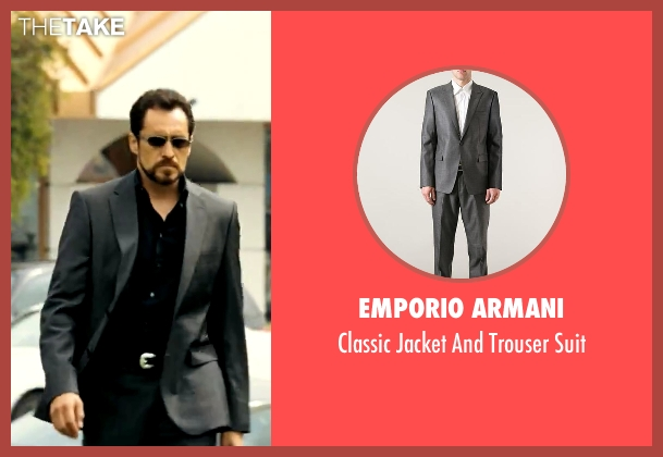 Emporio Armani gray suit from Savages seen with Demian Bichir (Alex)