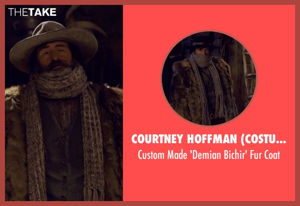 Courtney Hoffman (Costume Designer) brown coat from The Hateful Eight seen with Demian Bichir (Bob)