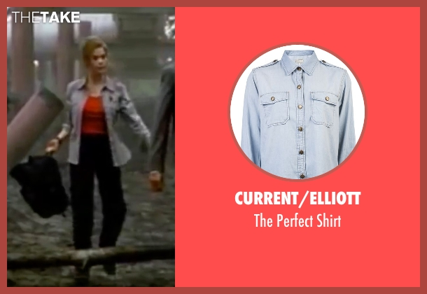 Current/Elliott blue shirt from The World is Not Enough seen with Denise Richards (Dr. Christmas Jones)