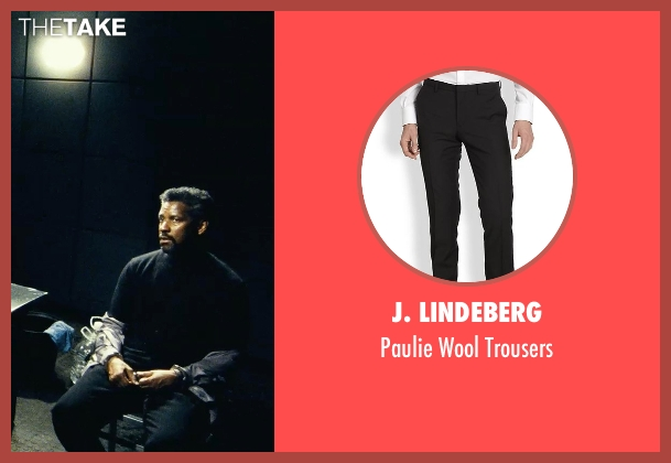 J. Lindeberg black trousers from Safe House seen with Denzel Washington (Tobin Frost)