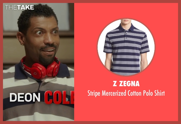 Z Zegna blue shirt from Barbershop: The Next Cut seen with Deon Cole (Dante)