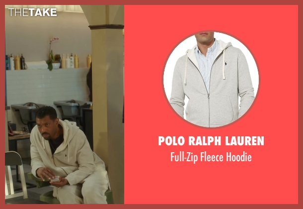 Polo Ralph Lauren white hoodie from Barbershop: The Next Cut seen with Deon Cole (Dante)