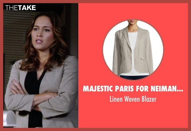 Majestic Paris for Neiman Marcus  beige blazer from Rosewood seen with Det. Annalise Villa (Jaina Lee Ortiz)